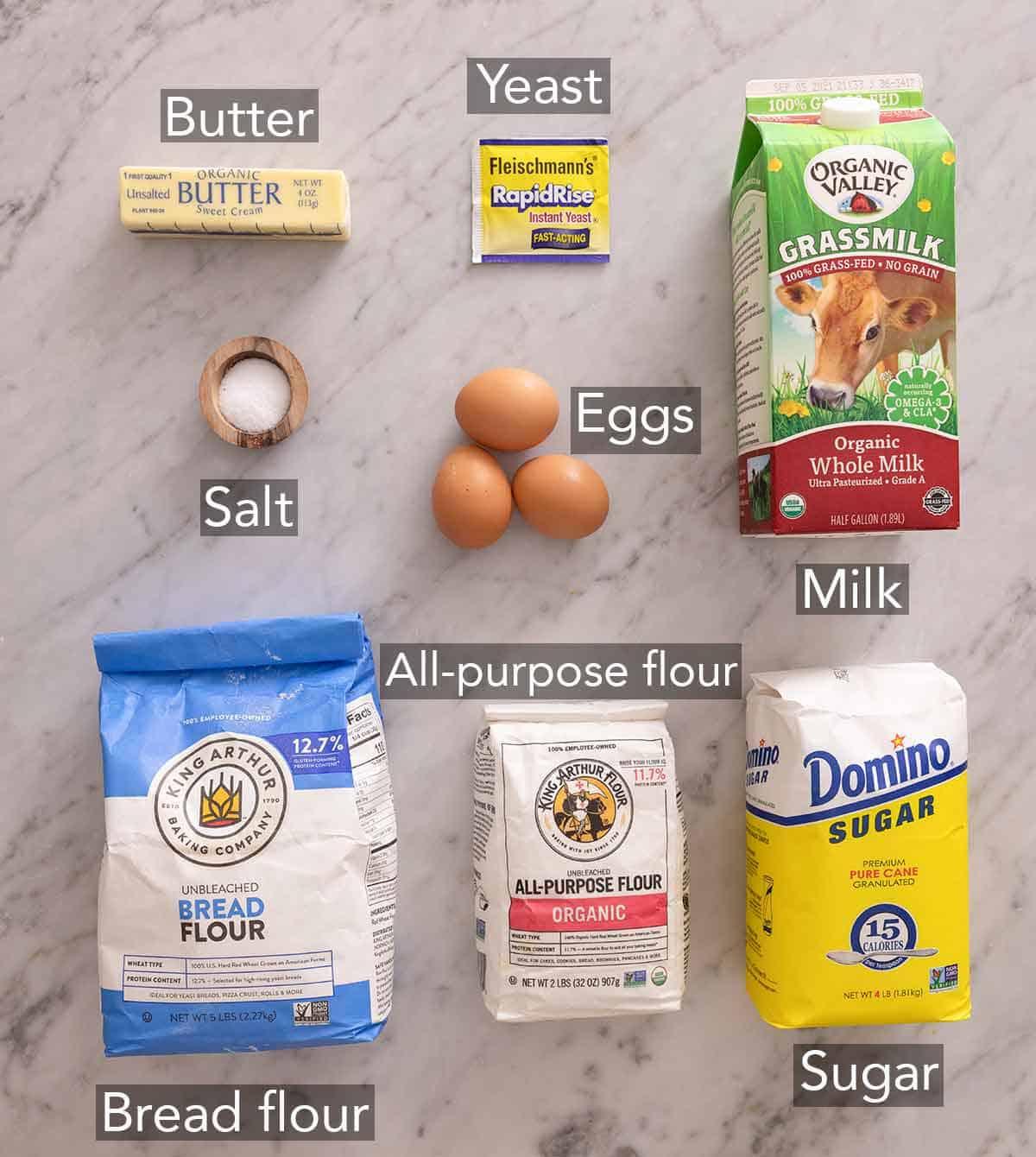 Ingredients needed to make brioche buns.