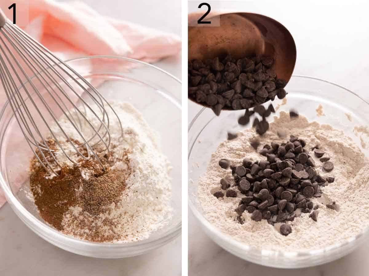 Set of two photos showing dry ingredients whisked together then chocolate chips poured into the dry ingredients.