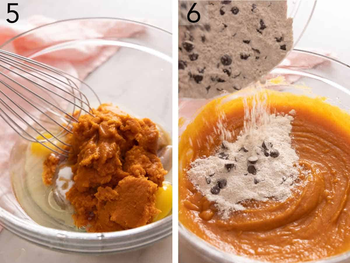 Set of two photos showing pumpkin puree whisked into the wet ingredients then dry ingredients added.