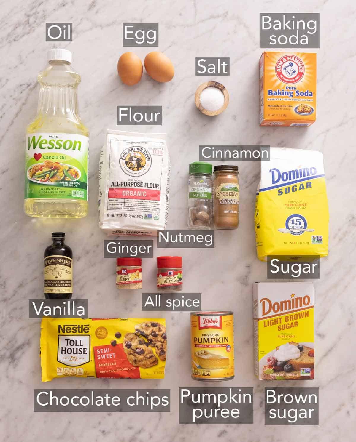 Ingredients needed to make chocolate chip pumpkin bread.