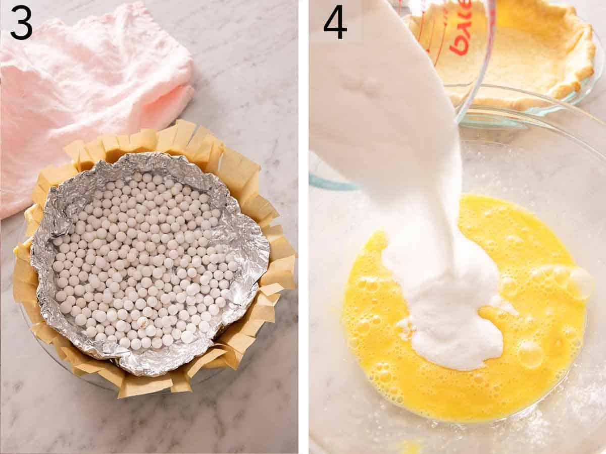 Set of two photos showing pie weights in a pie crust and then milk added to beaten eggs.