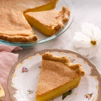 Pinterest graphic of a plate with a slice of chess pie in front of the rest of the pie.