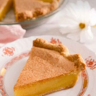 Pinterest graphic of a slice of chess pie in front of the rest of the pie in a glass pie dish.