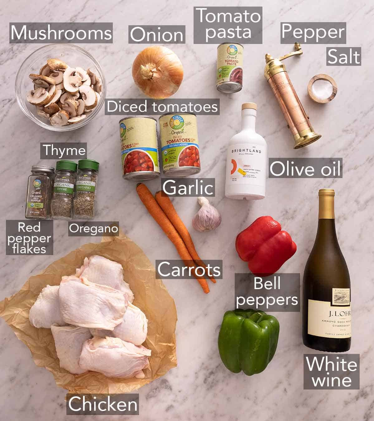 Ingredients needed to make chicken cacciatore.