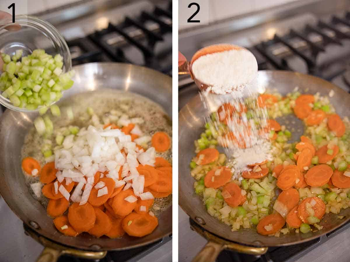 Set of two photos of vegetables added to a skillet and sautéed before flour is sprinkled over top.