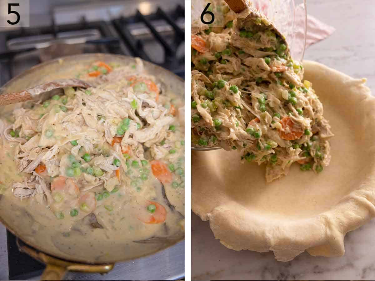 Set of two photos showing chicken stirred into the skillet then the mixture transferred to a pie crust.