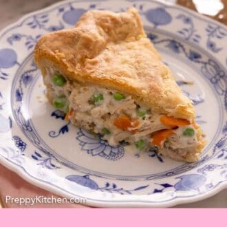 Pinterest graphic of a plate with one slice of chicken pot pie.