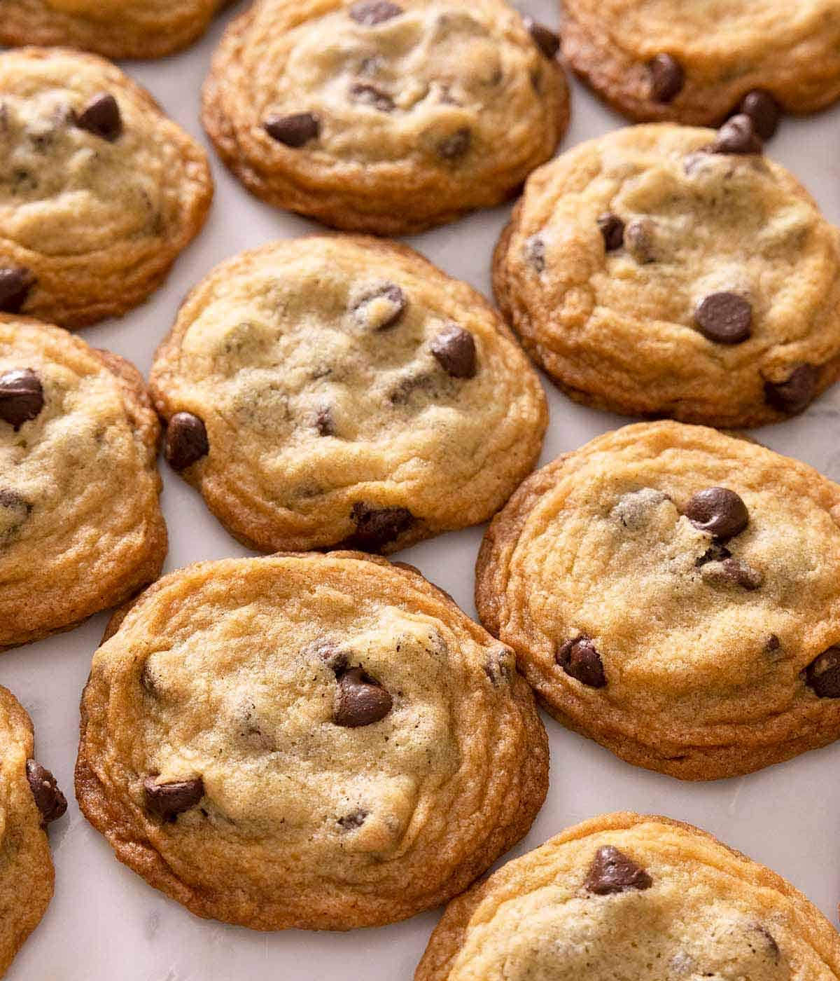 Multiple chocolate chip cookies side by side.