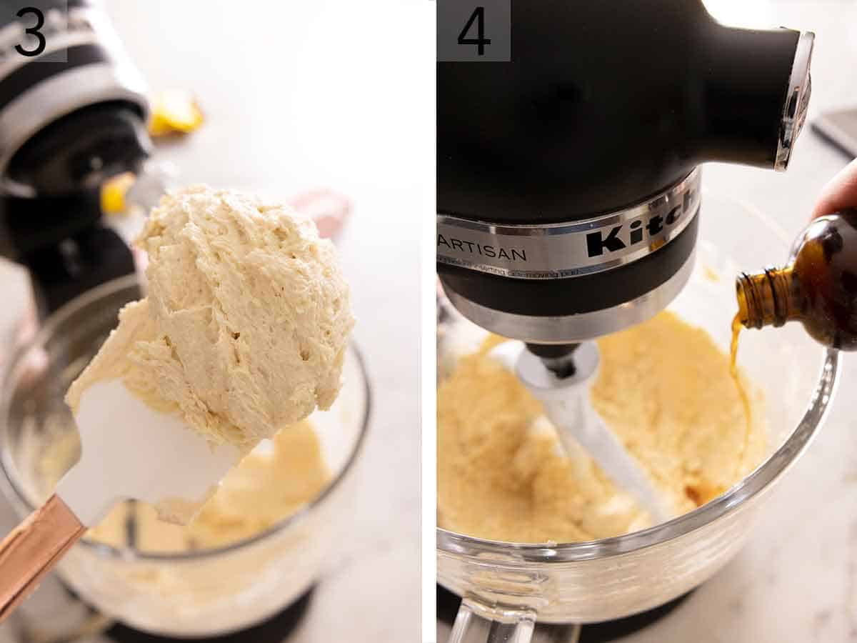 Set of two photos showing butter creamed with sugar and then vanilla added to the mixer.