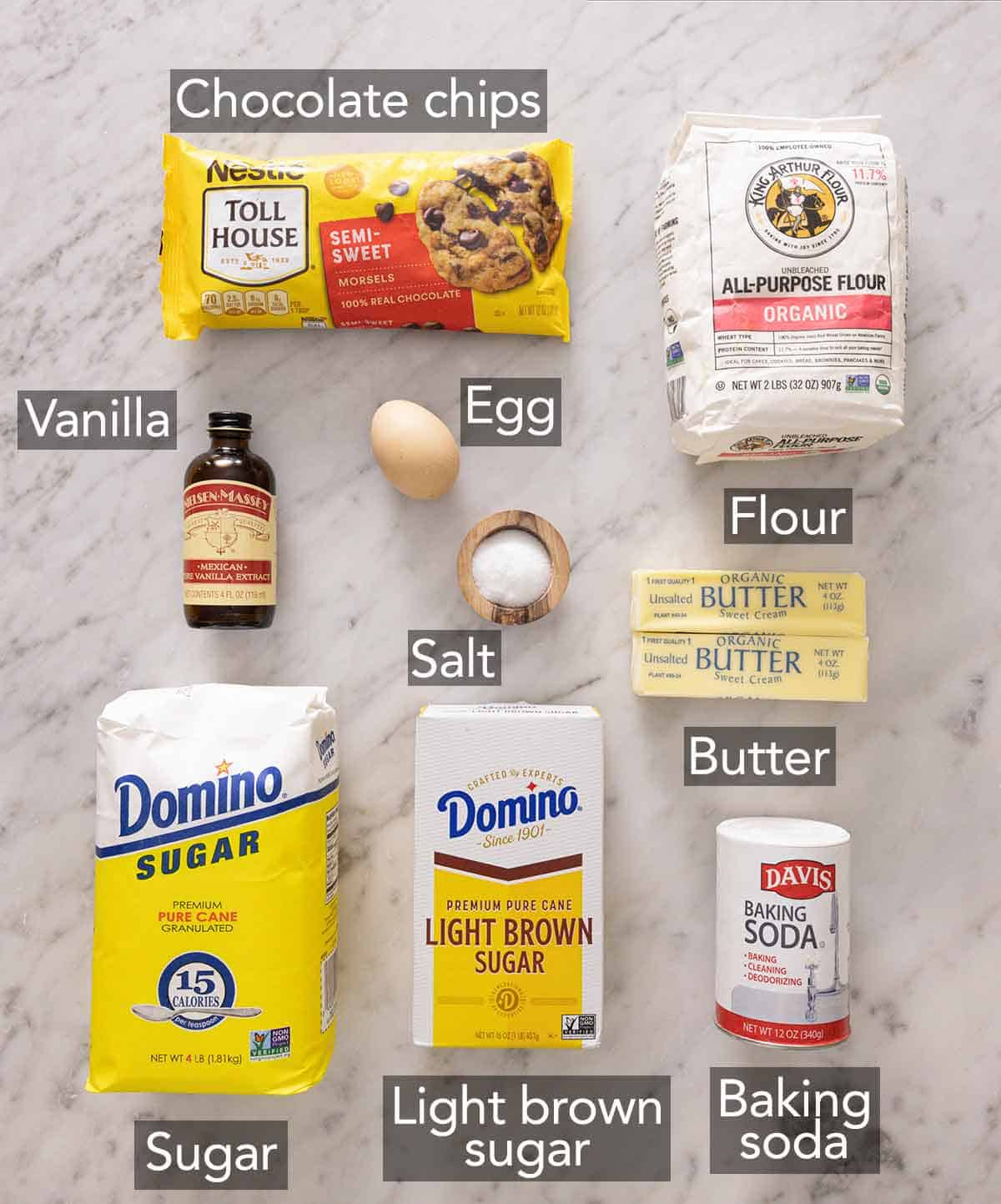 Ingredients needed to make chocolate chip cookies.