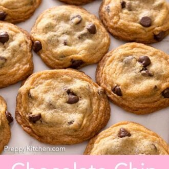 Pinterest graphic of multiple chocolate chip cookies in a single layer on a counter.