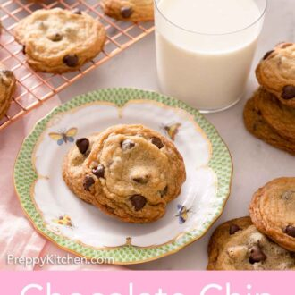 Pinterest graphic of a plate of two chocolate chip cookies in front of a glass of milk with additional cookies on the side and on a cooling rack.