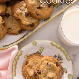 Pinterest graphic of a plate of two cookies in front of a platter of additional cookies.
