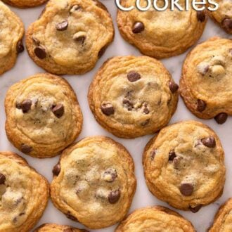 Pinterest graphic of the overhead view of multiple rows of chocolate chip cookies in a single layer.