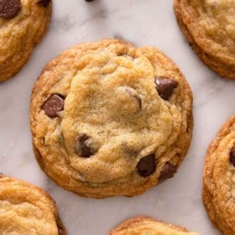 Multiple chocolate chip cookies with one full cookie in the middle, the rest are partially cropped.