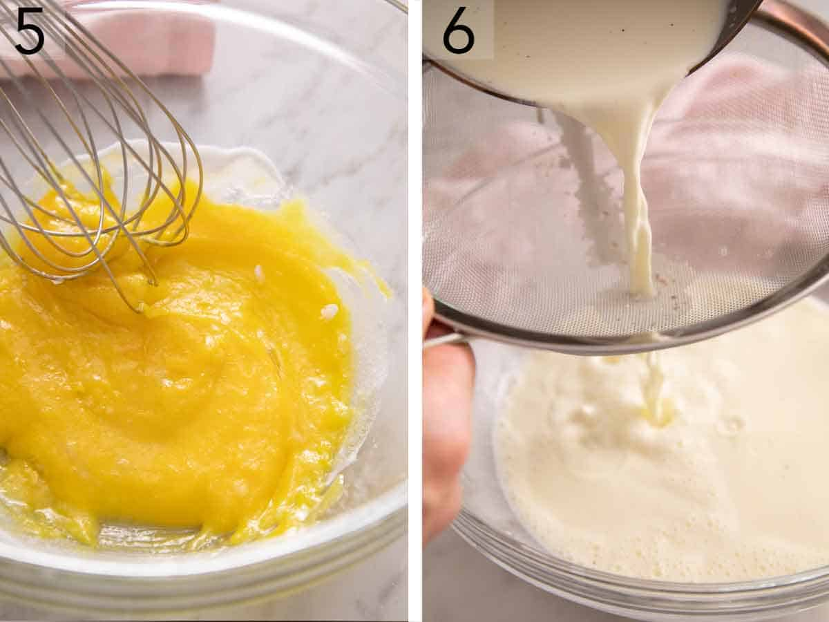 Set of two photos showing egg yolks being whisked and heavy cream being strained.