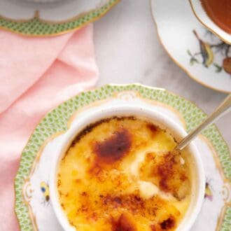 Pinterest graphic of an overhead view of a ramekin of crème brûlée with a spoon inserted.