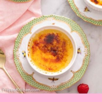 Pinterest graphic of an overhead view of one of three crème brûlées. A pink napkin linen is beside it with a spoon.