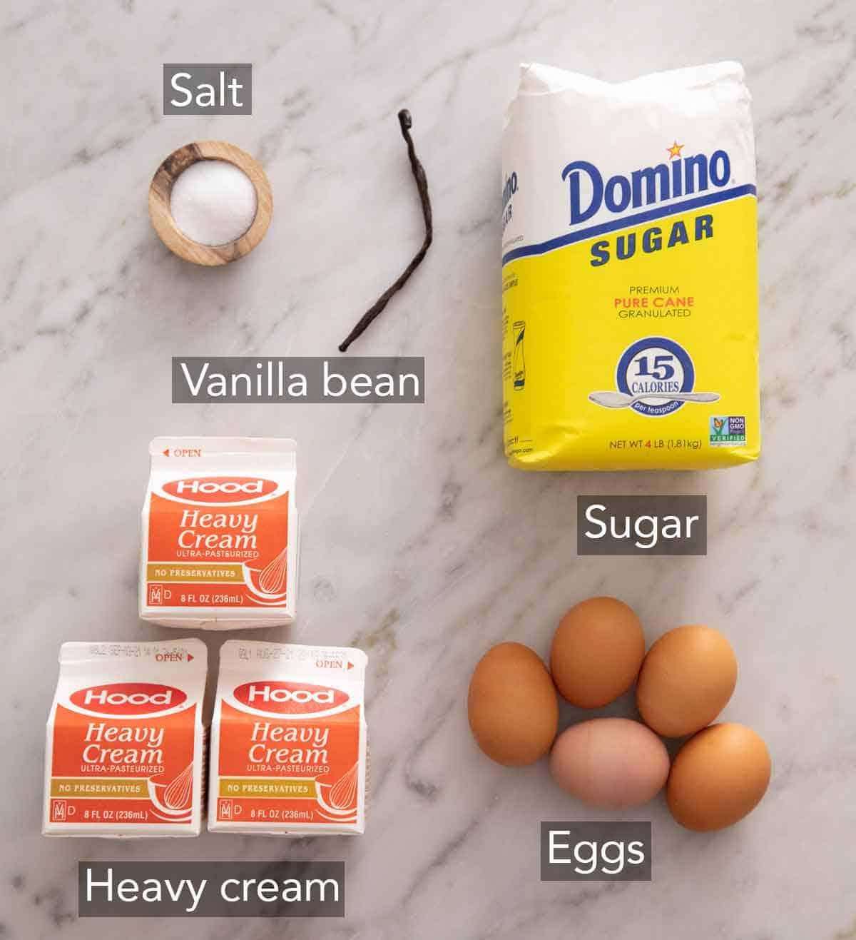 Ingredients needed to make crème brûlée.