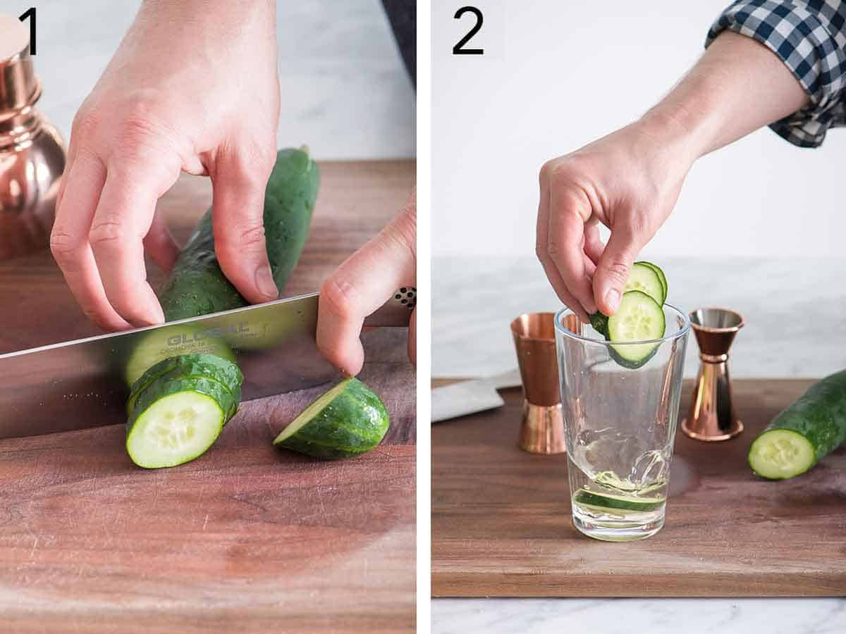 Set of two photos showing cucumbers being sliced and added to a glass.