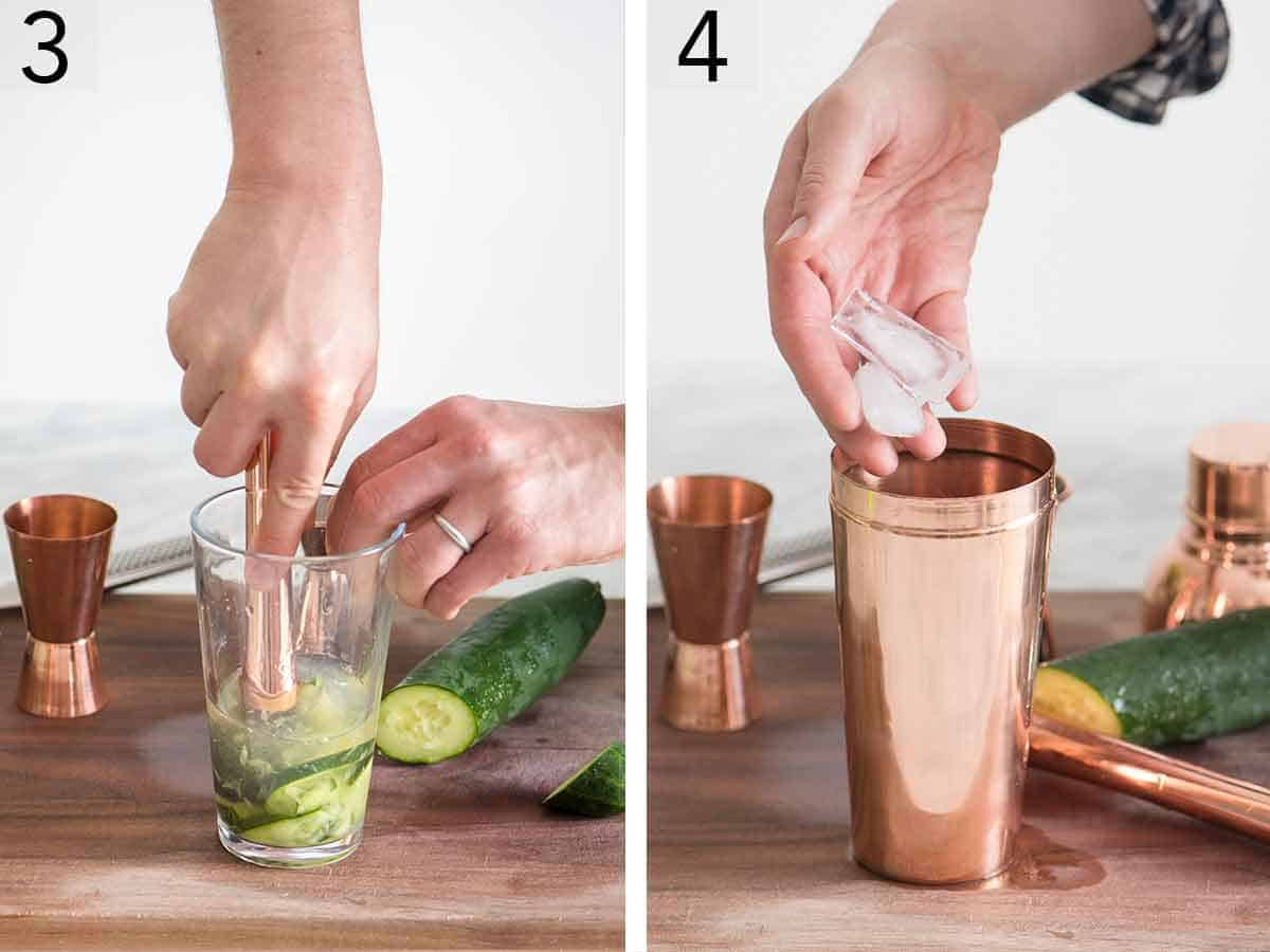 Set of two photos showing cocktail being muddled and ice added to a cocktail shaker.