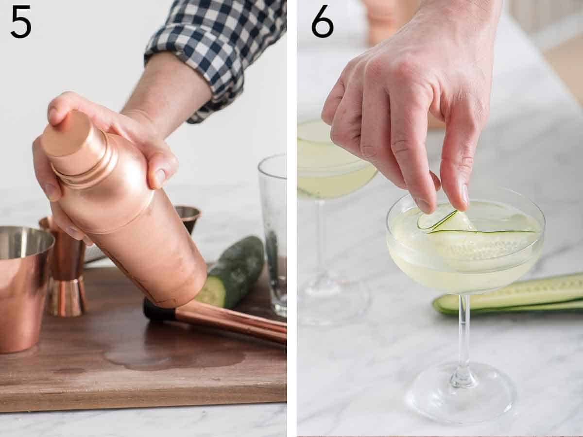 Set of two photos showing a cocktail shaker being shaken and then a hand placing the garnish into the cocktail in a glass.