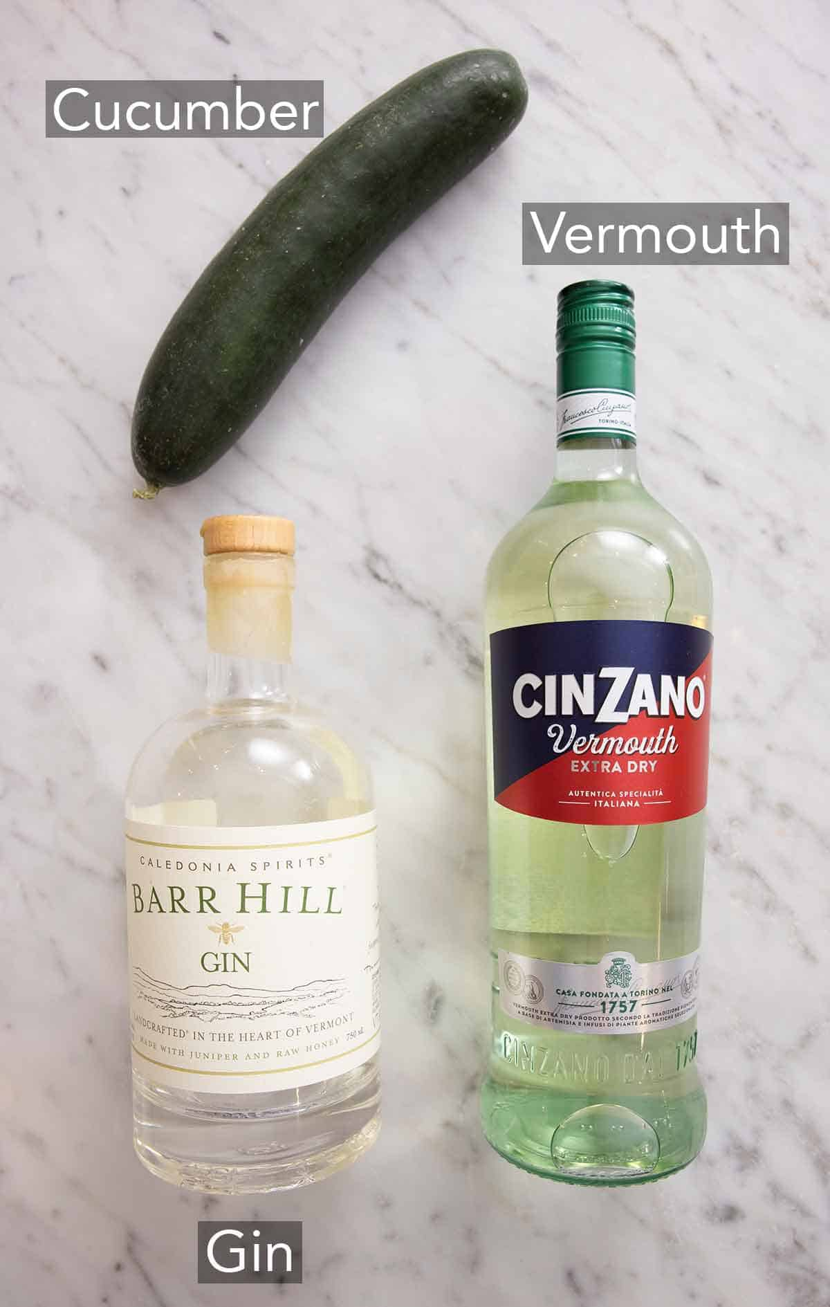 Ingredients needed to make a cucumber martini.