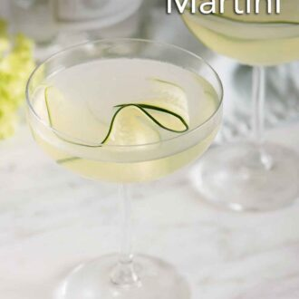 Pinterest graphic of a cucumber martini in focus with a second one in the background, out of focus.
