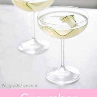Pinterest graphic of two glasses of cucumber martinis.