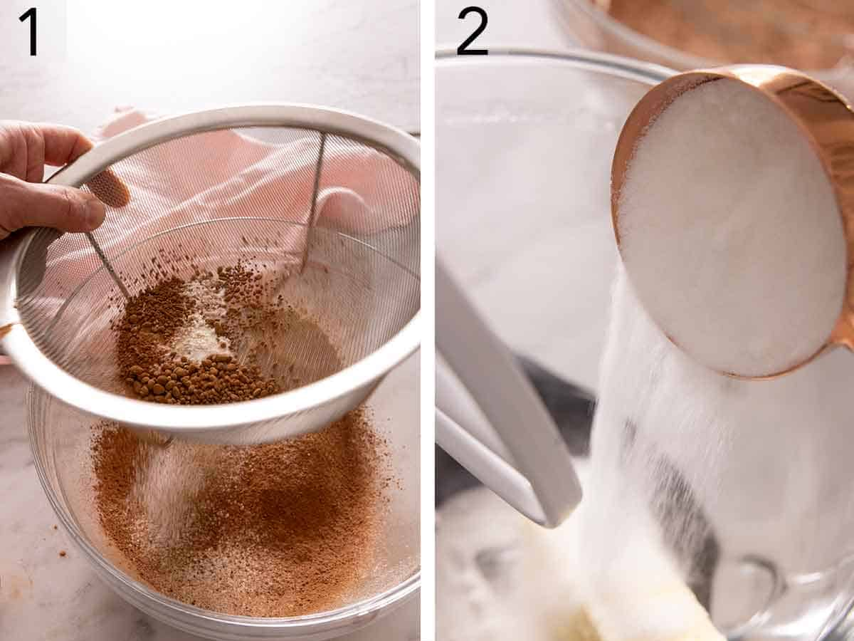 Set of two photos showing dry ingredients being sifted and then sugar added to butter.