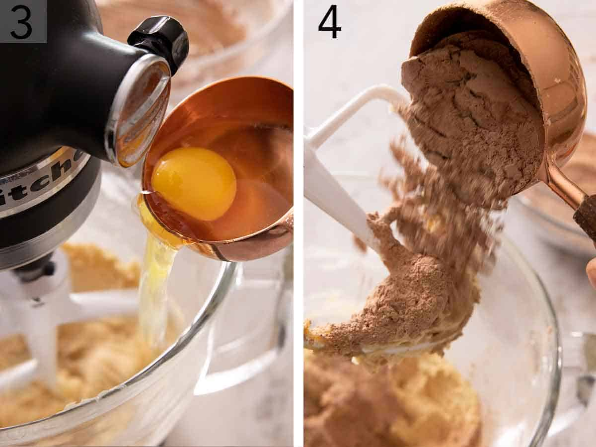 Set of two photos showing egg added to the mixer and then dry ingredients added.