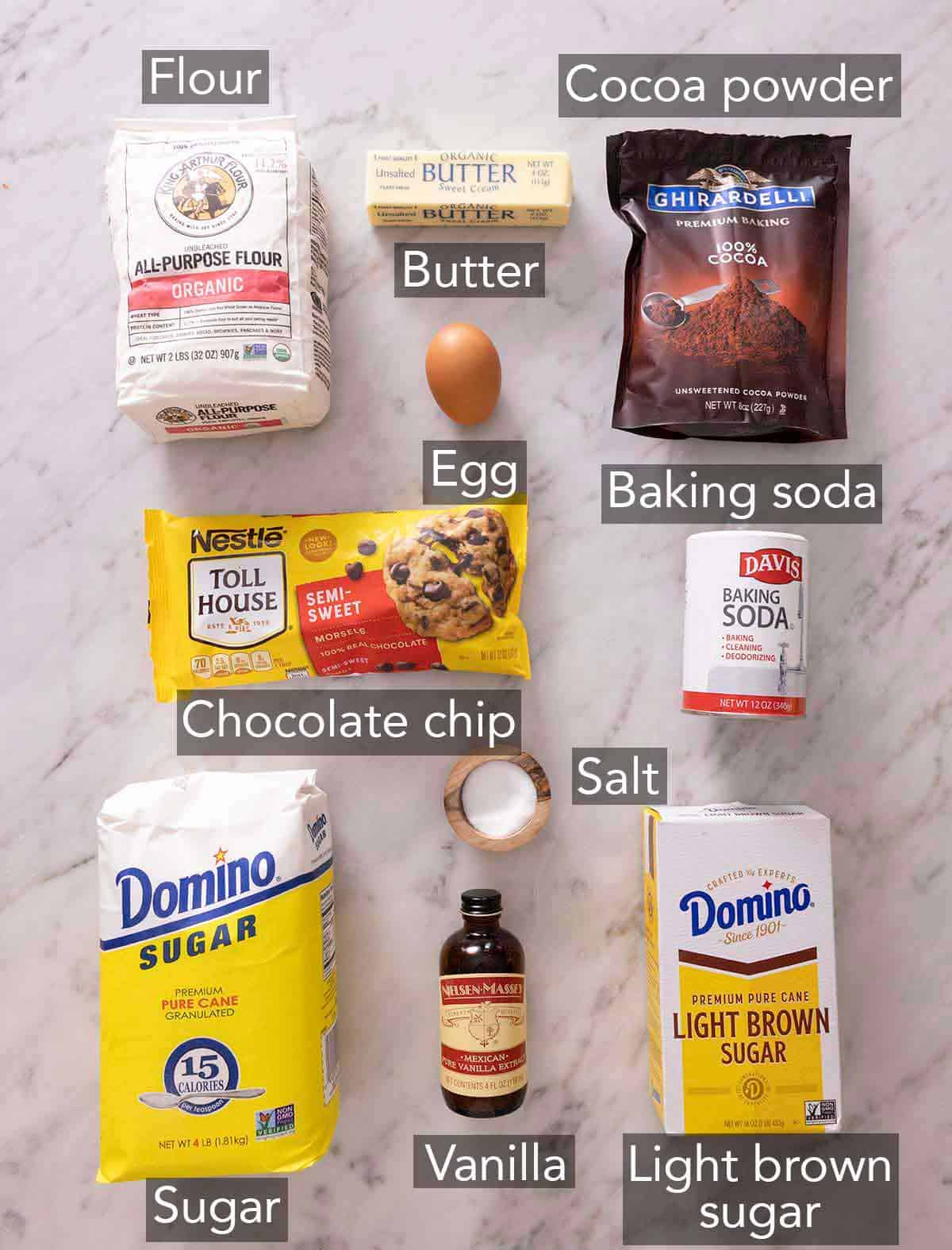 Ingredients needed to make double chocolate chip cookies.