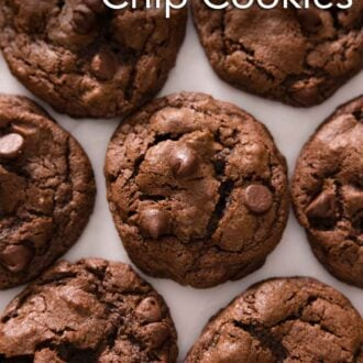 Pinterest graphic of multiple double chocolate chip cookies in a single layer.