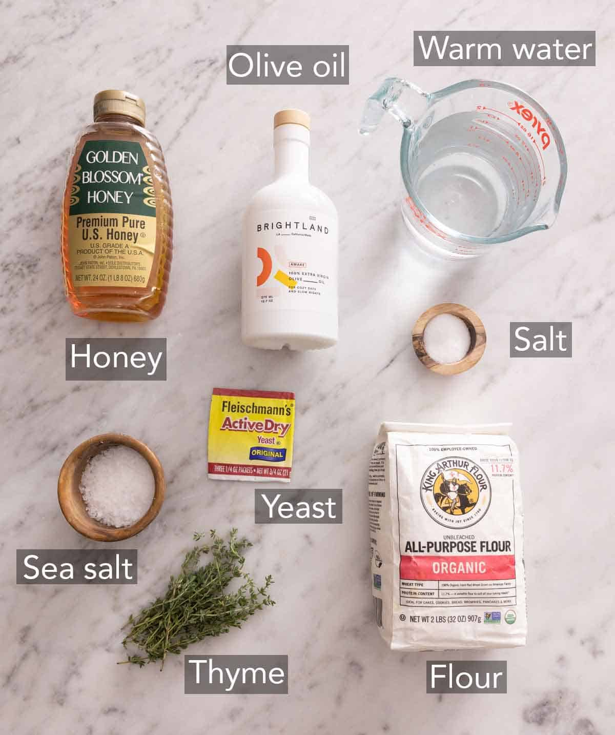 Ingredients needed to make focaccia.