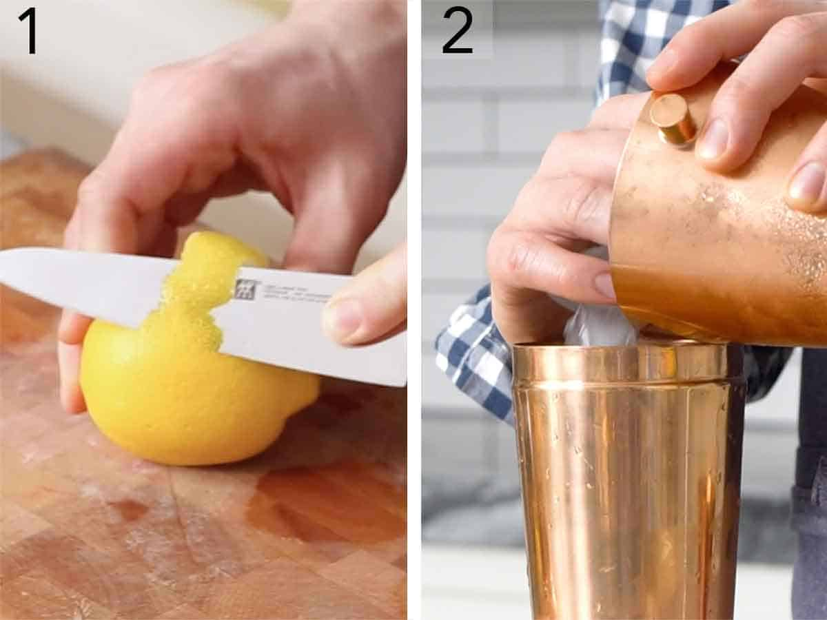 Set of two photos showing lemon peel sliced for garnish and ice added to a shaker.