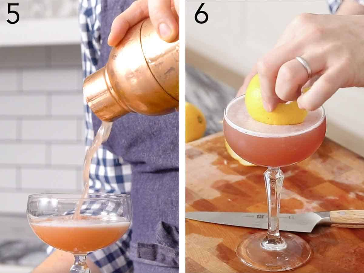 Set of two photos showing the cocktail poured into a glass from a shaker then lemon peel garnish added into the glass.
