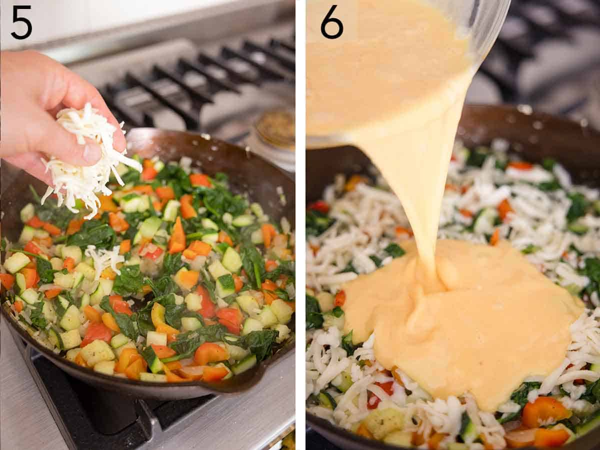 Set of two photos showing cheese added to a pan and then mixed eggs poured over top.