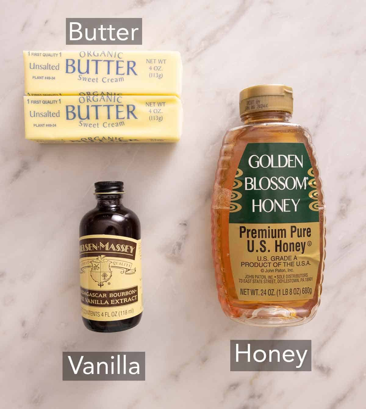 Ingredients needed to make honey butter.