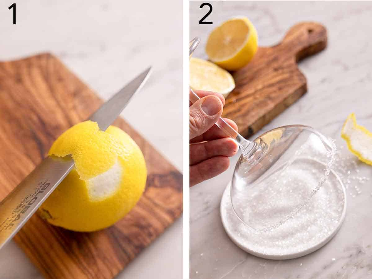 Set of two photos showing a lemon being peeled with a knife and a cocktail glass getting the rim coated in sugar.
