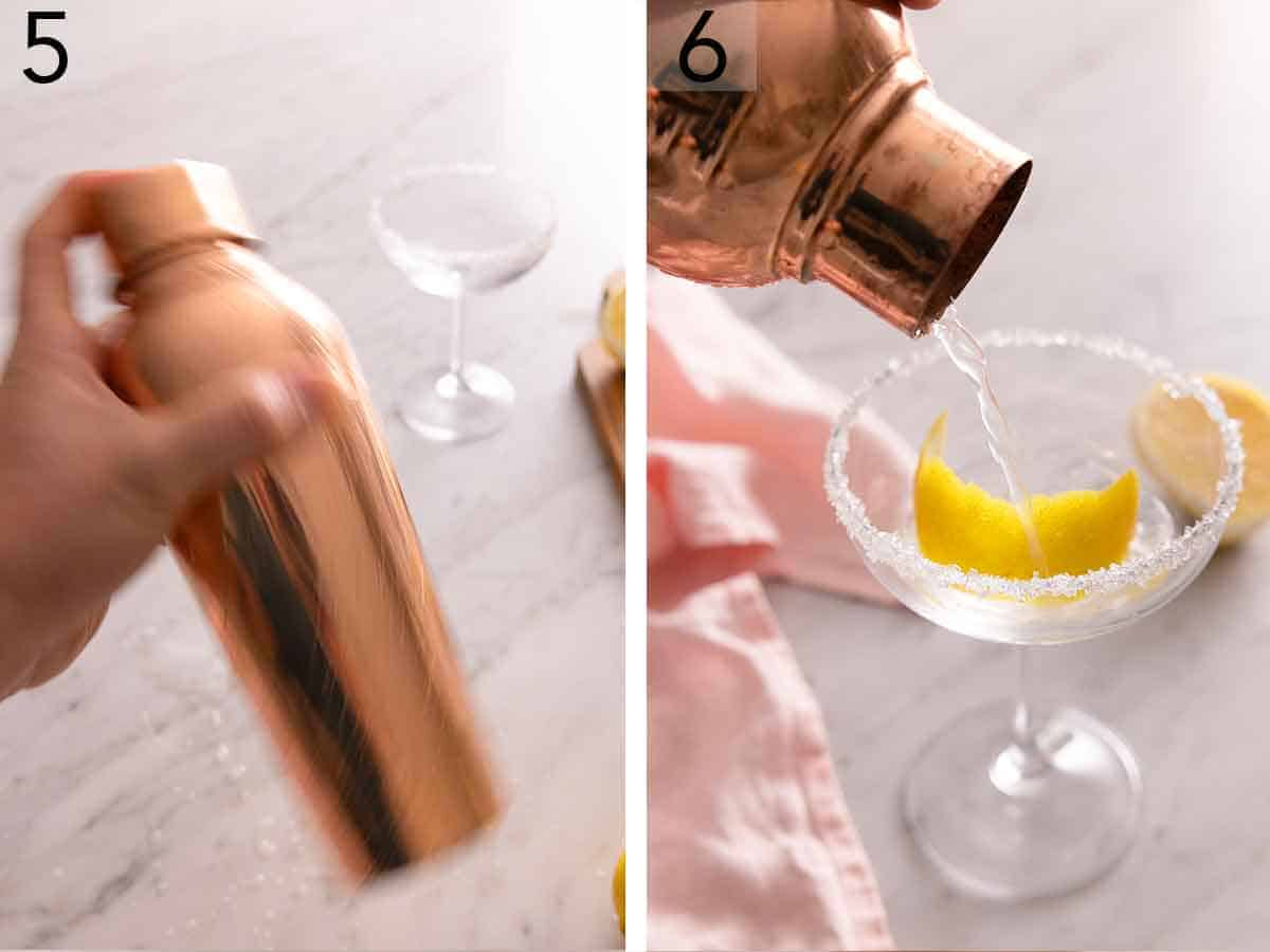 Set of two photos showing a cocktail shaker being shaken and then poured into the glass.