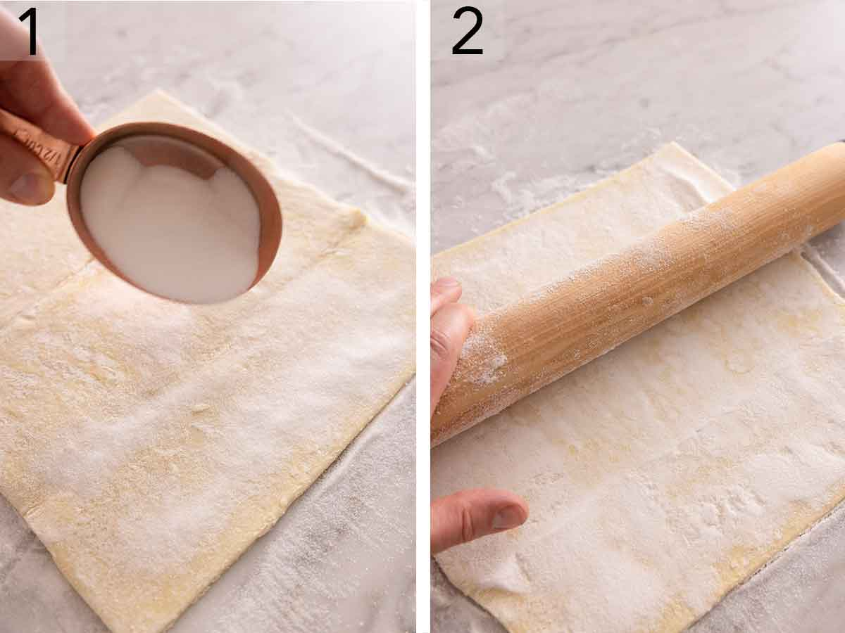 Set of two photos showing sugar sprinkled over puff pastry and then rolled with a rolling pin.