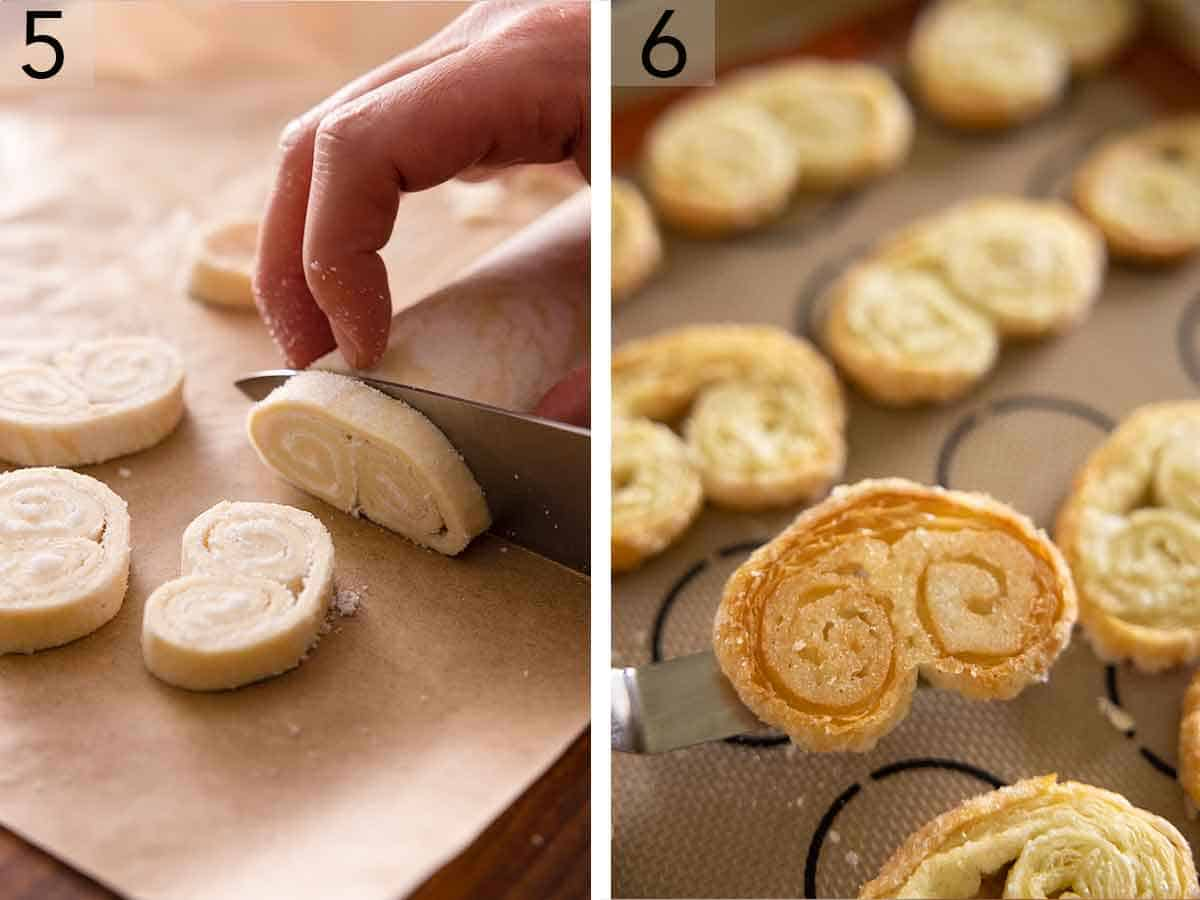 Set of two showing rolled pastry dough sliced and then baked on a silicone lined sheet pan.