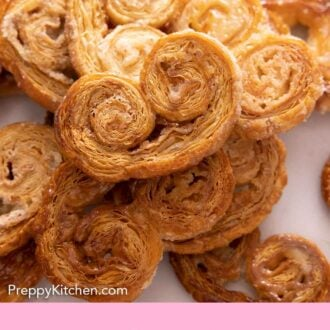 Pinterest graphic of a pile of palmiers, on top of each other.
