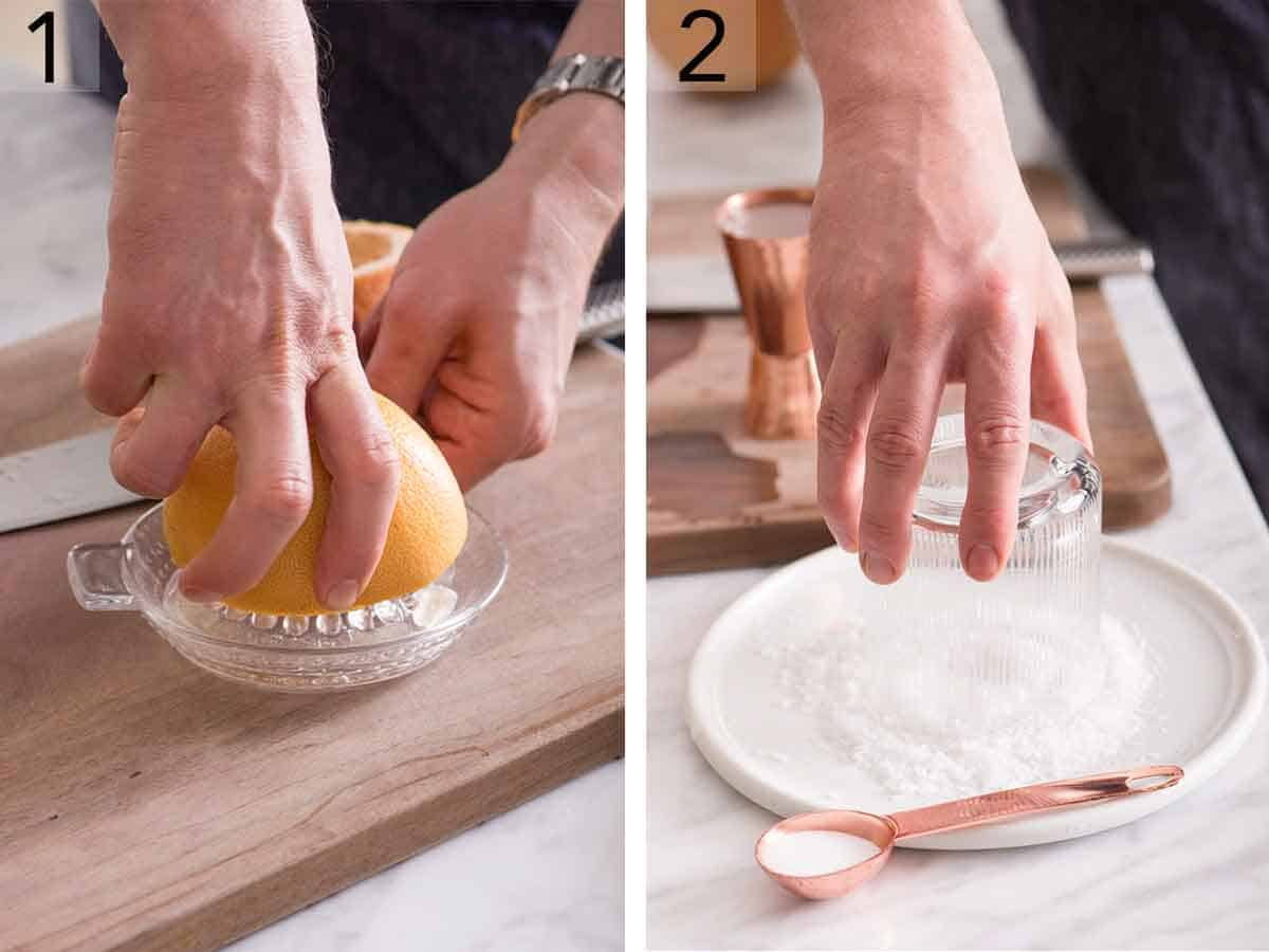 Set of two photo showing grapefruit being juiced and a glass' rim placed in a plate of salt.