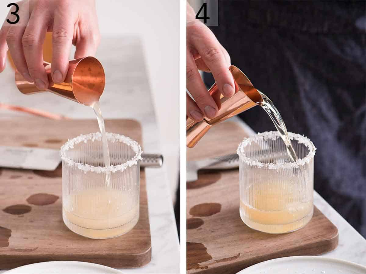 Set of two photos showing citrus juice poured into a glass and then tequila.