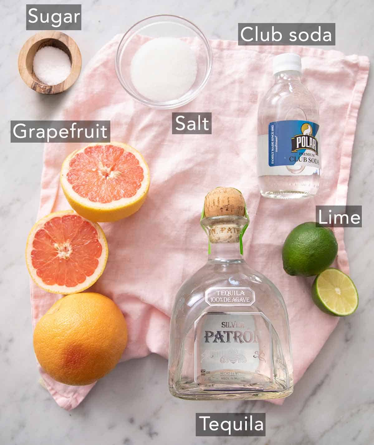 Ingredients needed to make a paloma.