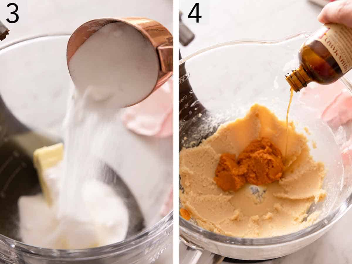 Set of two photos showing sugar added to butter and then pumpkin puree and vanilla added to the creamed butter.