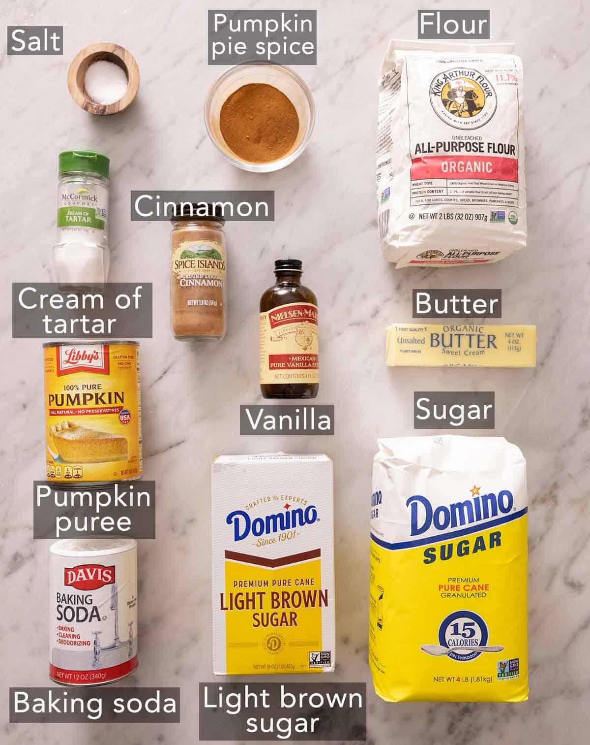 Ingredients needed to make pumpkin snickerdoodles cookies.