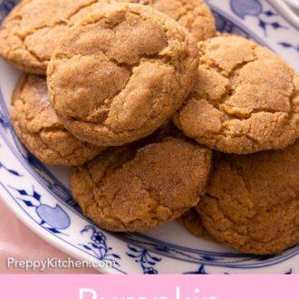 Pinterest graphic of a platter of pumpkin snickerdoodles.
