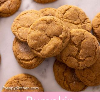 Pinterest graphic of multiple pumpkin snickerdoodles on a counter, with some stacked on top of each other.